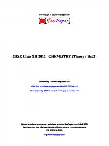 CBSE Class XII 2011 : CHEMISTRY (Theory ... - The Turning Point