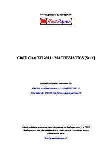 CBSE Class XII 2011 : MATHEMATICS [Set 1] - The Turning Point