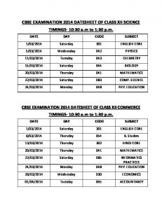 CBSE EXAMINATION 2014 DATESHEET OF CLASS XII SCIENCE ...