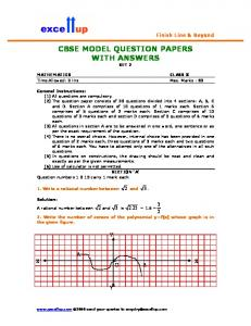 CBSE MODEL QUESTION PAPERS WITH ANSWERS - Excellup.com