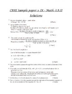CBSE Sample paper 1 CBSE Sample paper 1- IX - Math