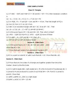 CBSE SAMPLE PAPER Class IX- Triangles Q.1 If ABC DEF and if ...