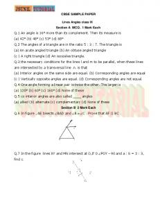 CBSE SAMPLE PAPER Section A MCQ . 1 Mark Each Q.1 An angle ...