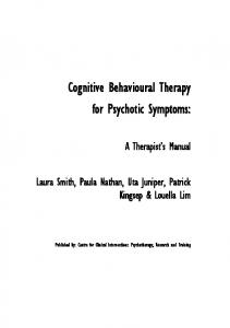 CBT for Psychotic Symptoms - Centre for Clinical Interventions