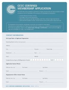 CCCC CERTIFIED MEMBERSHIP APPLICATION