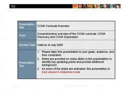 CCNA Curricula Overview-07Jul09 - Manager IT