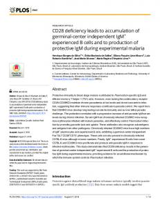 CD28 deficiency leads to accumulation of germinal-center ... - Plos