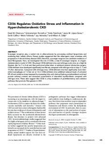 CD36 Regulates Oxidative Stress and ... - Semantic Scholar