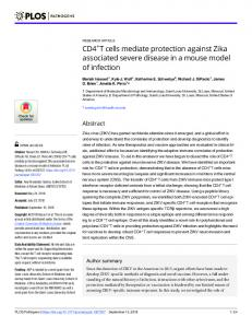 CD4+T cells mediate protection against Zika associated ... - PLOS