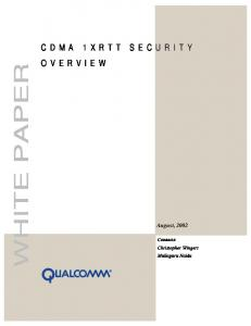 CDMA 1xRTT Security OverView