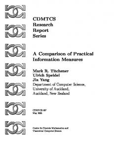 CDMTCS Research Report Series A Comparison of Practical ...