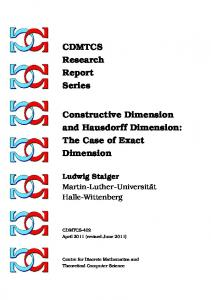 CDMTCS Research Report Series Constructive Dimension and