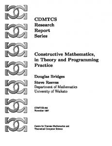CDMTCS Research Report Series Constructive Mathematics, in