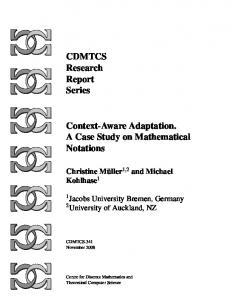 CDMTCS Research Report Series Context-Aware Adaptation. A Case ...