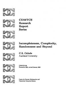 CDMTCS Research Report Series Incompleteness, Complexity ...