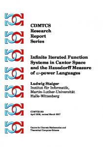CDMTCS Research Report Series Infinite Iterated Function Systems in ...