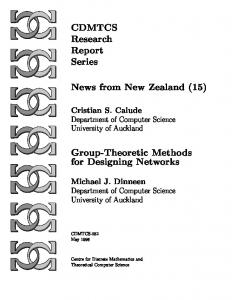 CDMTCS Research Report Series News from New Zealand 15 Group ...