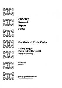 CDMTCS Research Report Series On Maximal Prefix Codes