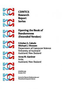 CDMTCS Research Report Series Opening the Book of Randomness ...