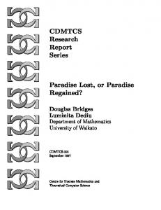 CDMTCS Research Report Series Paradise Lost, or Paradise ...
