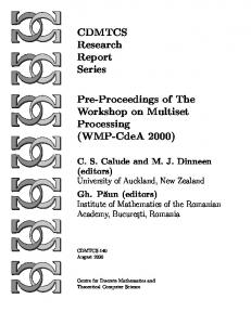 CDMTCS Research Report Series Pre-Proceedings ...