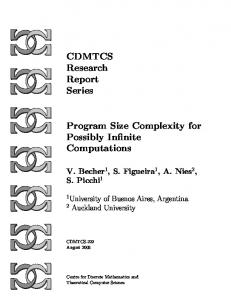CDMTCS Research Report Series Program Size Complexity for