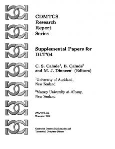 CDMTCS Research Report Series Supplemental Papers for DLT'04