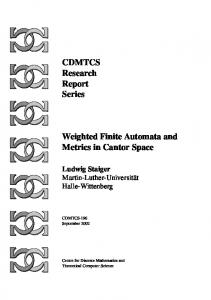 CDMTCS Research Report Series Weighted Finite Automata and ...