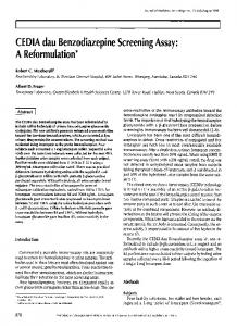 CEDIA dau Benzodiazepine Screening Assay: A ... - Semantic Scholar