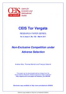 CEIS Tor Vergata - SSRN papers