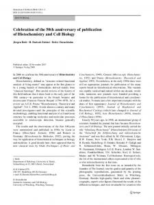 Celebration of the 50th anniversary of publication of Histochemistry ...