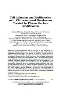 Cell Adhesion and Proliferation onto Chitosan-based ... - CiteSeerX