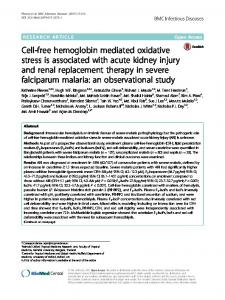 Cell-free hemoglobin mediated oxidative stress is associated with ...