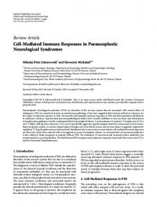 Cell-Mediated Immune Responses in Paraneoplastic Neurological ...