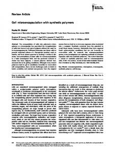 Cell microencapsulation with synthetic polymers - Semantic Scholar