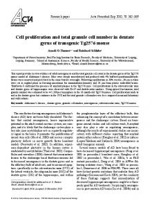 Cell proliferation and total granule cell number in ... - Semantic Scholar
