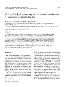 Cell surface hydrophobicity and its relation to adhesion of yeasts ...