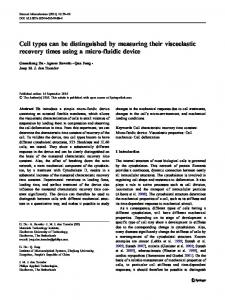 Cell types can be distinguished by measuring their ... - Springer Link