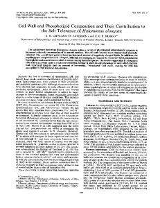 Cell Wall and Phospholipid Composition and Their Contribution to