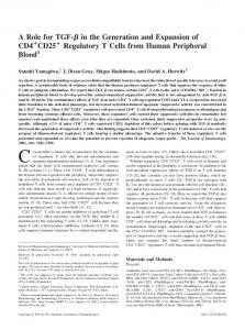 Cells from Human Peripheral Blood Regulatory T + CD25 + Expansion ...