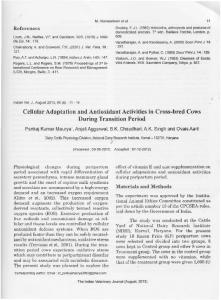 Cellular Adaptation and Antioxidant Activities in Cross ...