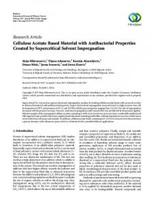Cellulose Acetate Based Material with Antibacterial Properties ...