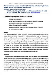 Cellulose Pyrolysis Kinetics: Revisited - Core