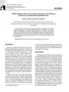 Cellulose Sulfuric Acid as an Eco-Friendly Catalyst for Novel ...