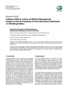 Cellulose-Sulfuric Acid as an Efficient Biosupported Catalyst in One ...