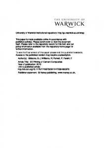CEMU Personnel - Warwick WRAP - University of Warwick