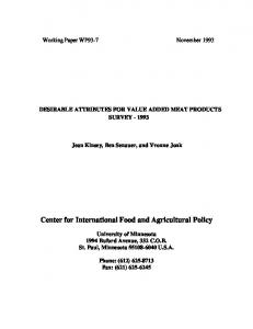Center for International Food and Agricultural Policy - AgEcon Search