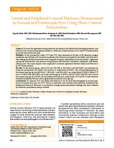 Central and Peripheral Corneal Thickness ... - Semantic Scholar