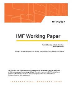 Central Banking in Latin America: The Way Forward - IMF