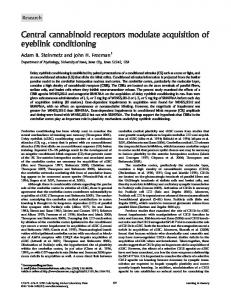 Central cannabinoid receptors modulate acquisition ...